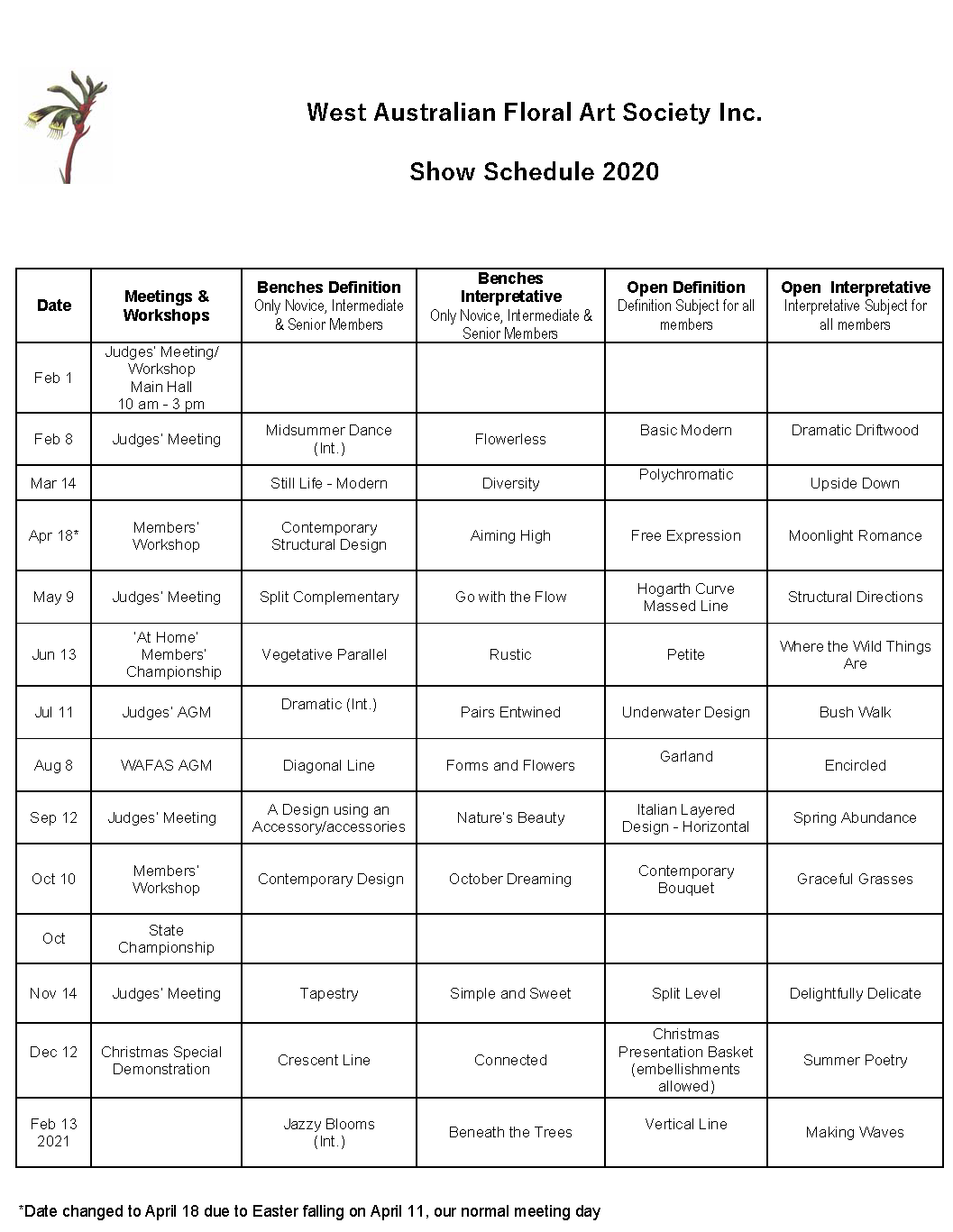 2020 Show Schedule for website 2